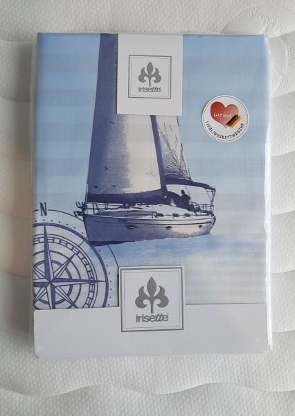 Bettwäsche-Garnitur 135/200 + 80/80 cm Irisette Mako-Satin Dessin 8089 Maritim rot