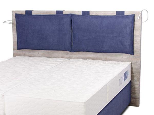 Bettkopfteil Holzoptik mit Rückenkissen